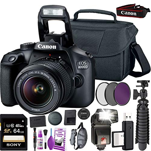 Canon EOS 4000D DSLR Camera and EF-S 18-55 mm f/3.5-5.6 is III Lens...