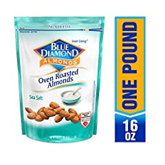 Contains 1 - 16 ounce bags of blue diamond roasted salted almonds We add just the right amount of salt to complement the almond's delicate flavor Perfect for snacking, they're also ideal for your favorite recipes 3 gram fiber, 0 gram trans fat Choles...