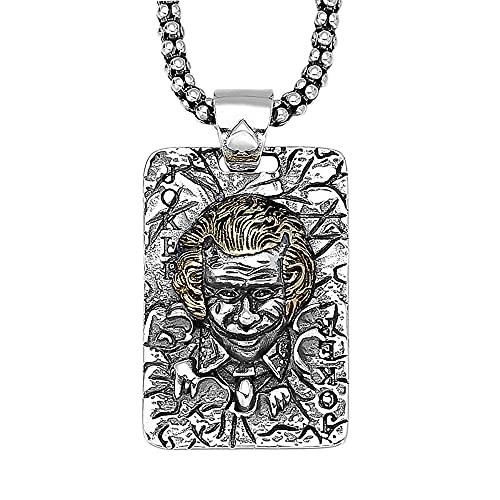 AMY-XCQ Collar, Colgante De Payaso De Joyería De Plata Esterlina S925 con Collar De Maíz De 3 Mm Hombres Retro,The Chain Length is 50cm
