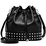 BOSTANTEN Women Bucket Handbags Designer Drawstring Crossbody Purse Shoulder Hobo Bag Black