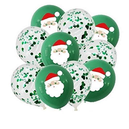 JSJJARD Luftballons 1Set Frohe Weihnachten Luftballons Weihnachtsmann Elch Weihnachtsbaum Weihnachten Ballon-Partei-Dekoration-Ausgang Xmas Party Decor (Color : Mix Green)