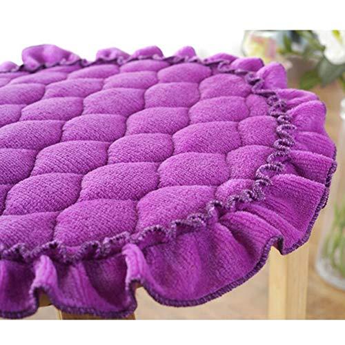 YCSD 6 Pezzi Cuscini per Sedie Rotondi Ispessiti con Lacci Cuscino per Sedia Circolare Sala da Pranzo Patio Sedia da Giardino Cuscini per Sedili Cuscini(Size:40cm,Color:Purple)