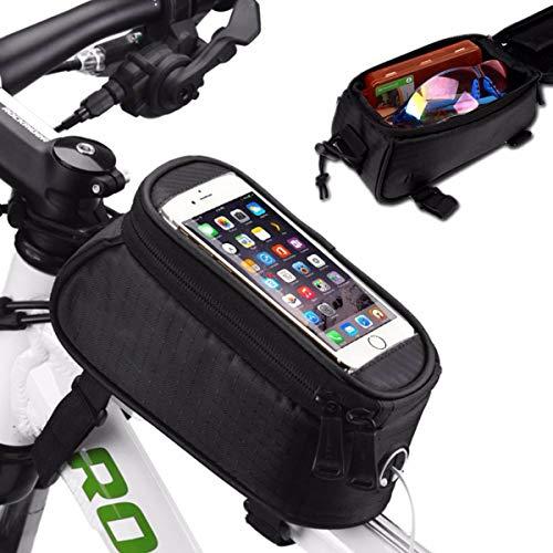 SANON Fietsframetas waterdichte fietstas mountainbike voorframe opbergtas fiets waterdichte telefoonhouder. (geel 5 inch)