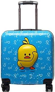 YCYHMYFABS + PC-Material leichte, verschleißfeste Kinder-Trolley für Jungen und Mädchen, Reise 18 Zoll (Blau)