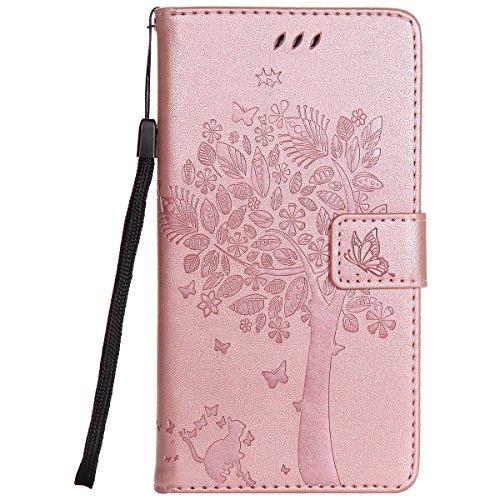 ISAKEN Kompatibel mit Samsung Galaxy Note 3 Hülle, PU Leder Brieftasche Geldbörse Wallet Hülle Handyhülle Tasche Schutzhülle Hülle mit Handschlaufe Strap für Samsung Galaxy Note 3 - Baum Katze Rosegold
