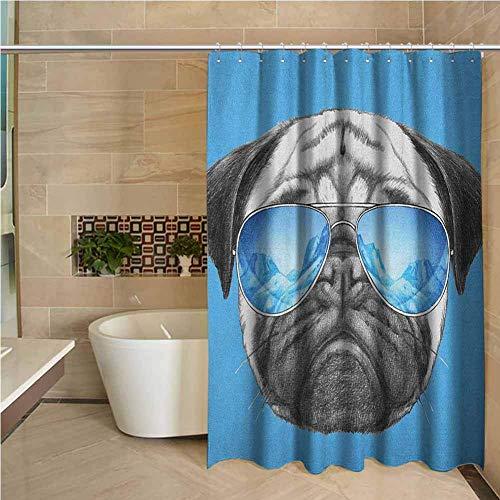 N\A Fe Cortina de Ducha Retrato de Barro Amasado con Gafas de Sol de Espejo Ilustración Dibujada a Mano de Animal doméstico Divertido Perla Azul Negro