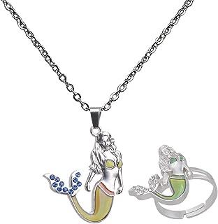 Baoblaze Zinc Alloy Cute Mermaid Pendant Ring - Color Change Mood Necklace Choker Emotion Jewelry Set for Women Gifts