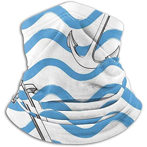 Linger In Blue Wave Anchor Neck Gaiter Face Mask Bandana Seamless Headband Ski Riding Running