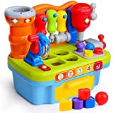 ORWINE Musical Learning Workbench Toddler Toys for Boys Girls Kid Baby Early Education Toys for 1 2 3 4 Years Old Construction Workbench Pretend Play Sound Effect Light Shape Sorter Tool Birthday Gift