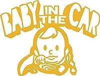Baby in the car  ベービーインザカー 子供が乗ってますステッカー Super Boy (ゴールド)