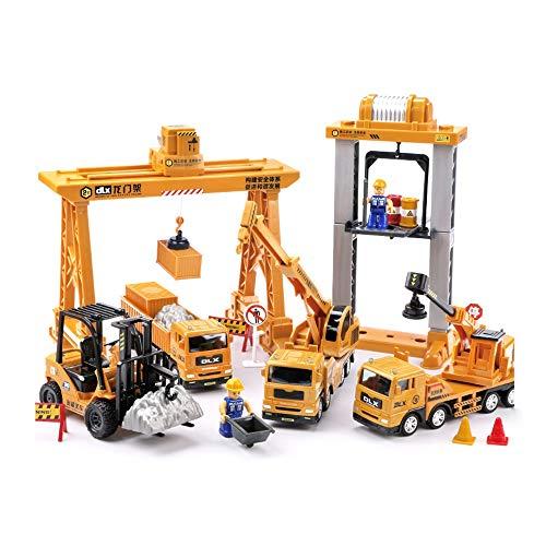 Moerc Conjunto de coches de ingeniería for niños grandes Modelo de grúa grande Excavadora de camión Carretilla elevadora Juguete Simulación de automóviles Ingeniería de deslizamiento de metal Aleación