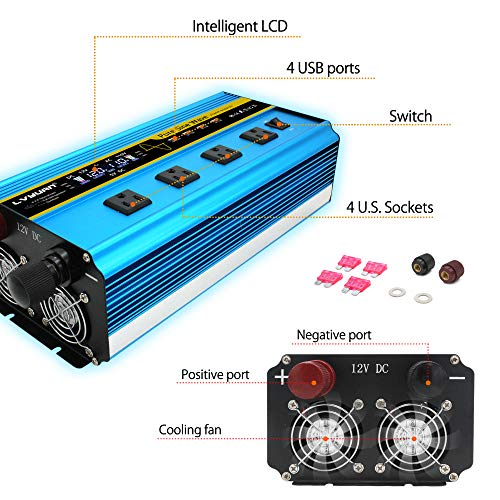 Cantonape Pure Sine Wave Power Inverter 3000W/6000W(Surge) Converter DC 12V to 110V AC with LCD Display, Remote Controller, 4 Sockets, 4 Cooling Fan