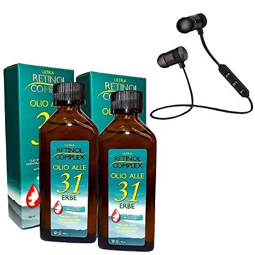 Retinol Complex Olio alle 31 Erbe senza Parabeni, Paraffina e Alcohol utile contro Mal di Testa e dolori al corpo - 100ml - con Cuffie Wireless Magnetiche in Omaggio (2pz)