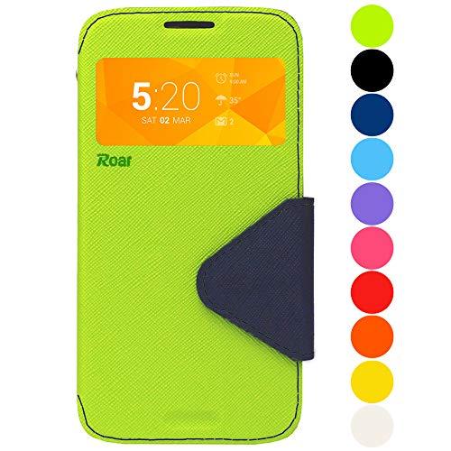 Roar Premium Hülle für Samsung Galaxy S8 Handyhülle, Flip Hülle Schutzhülle Tasche Case für Samsung Galaxy S8, Klapphülle mit Fenster in Grün