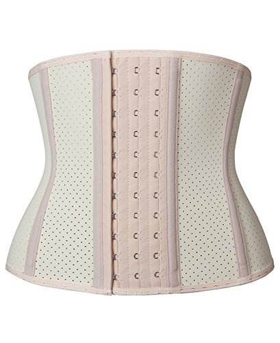 YIANNA Women's Underbust Breathable Short torso latex Waist trainer corset for Weight loss Sports Workout Hourglass Body Shaper Fat Burner, YA110266-Beige-L