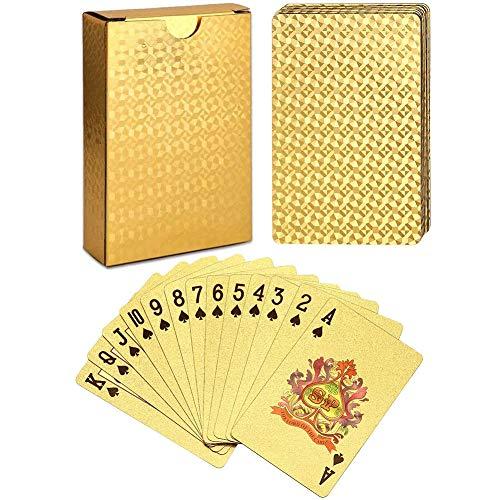 Impermeable Cartas De Póquer, Diamante Mágico Trucos 24k Resistente Agua De Herramientas para La Fiesta De Juegos Familiares Oro