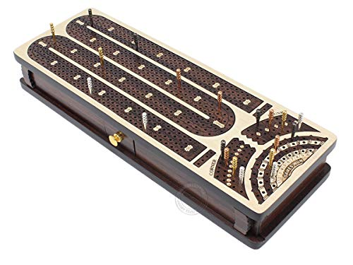 House of Cribbage - Continuous Cribbage Board / Box Inlaid in Maple / Rosewood : 4 Track - Sliding Lids and Drawer with Score Marking Fields for Skunks, Corners and Won Games