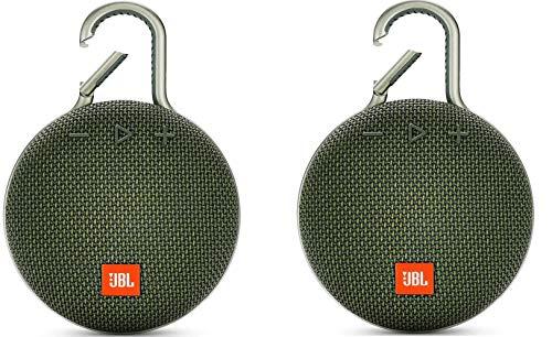 Pair of JBL Clip 3 Portable Waterproof Wireless Bluetooth Speaker (Forest Green) Bundle
