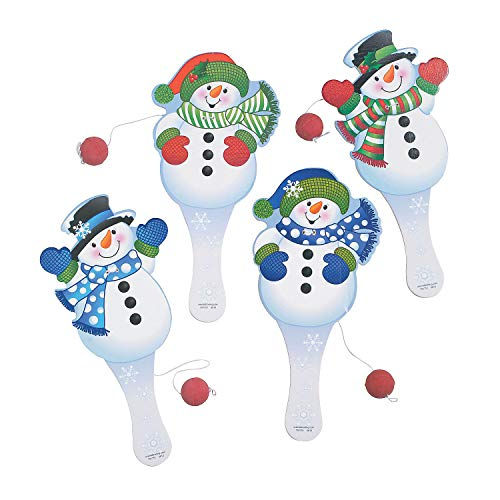 Snowman Paddle Ball Games - Set of 12 - Christmas Toy Game and Stocking Stuffer