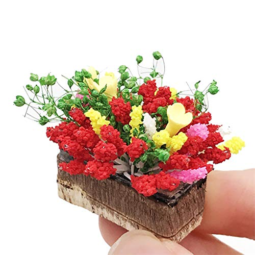 Onegirl DIY Dollhouse Accessories, Miniature Green Plant Flower in Pot Fairy for 1:12 Miniature Dollhouse Kit DIY Furniture Decoration Garden Accessory Mini Gardening Props (Red 2)