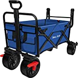 BEAU JARDIN Folding Wagon Cart with Brakes Free Standing Collapsible Utility Camping Grocery Canvas...