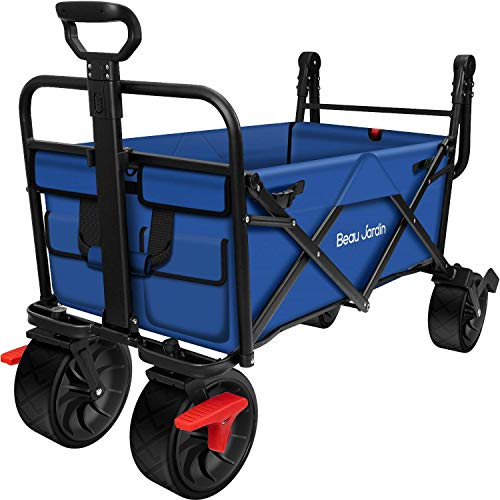 BEAU JARDIN Folding Wagon Cart with Brakes Free Standing Collapsible Utility Camping Grocery Canvas Fabric Sturdy Portable Rolling Buggies Outdoor Garden Sport Heavy Duty Shopping Cart Push Wagon Blue