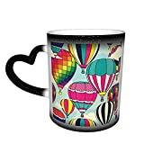 Oaieltj Tazas cambiantes de calor divertidos globos de aire caliente personalizados sensible al calor cambiante mágico taza de café de cerámica taza de té de leche
