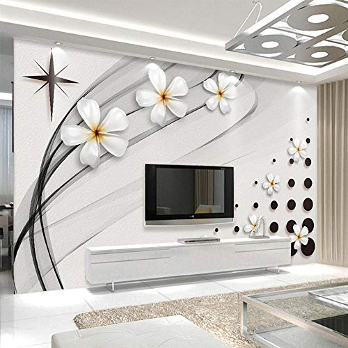Mural De Pared Moderno Papel Tapiz 3D Estéreo Blanco Y Negro Flor De Cerámica Foto Pintura De Pared Sala De Estar Tv Sofá Telón De Fondo Pared 3D,350(W)*256(H)Cm