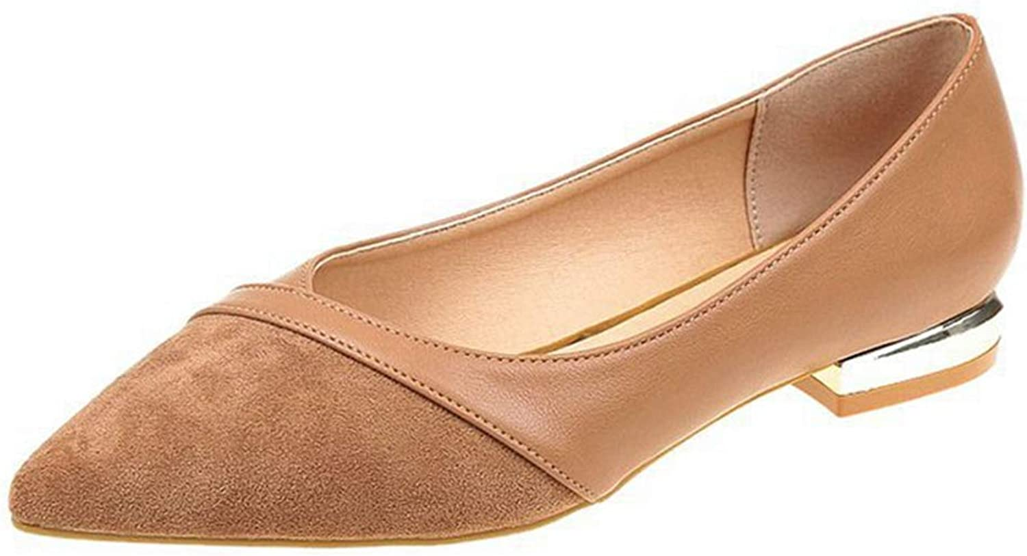 CYBLING Women's Flat shoes Fashion Pointed Toe Casual Square Low Heel Slip-On Pumps