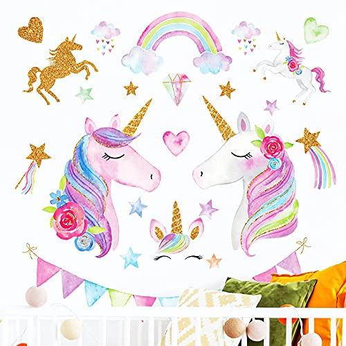 Youcool Adesivi Murali Unicorno Stickers Murali Bambini, Stencil da Parete Wall Stickers per Camera da Letto Soggiorno Asilo Nido Decorazioni Parete, 85 x 95cm