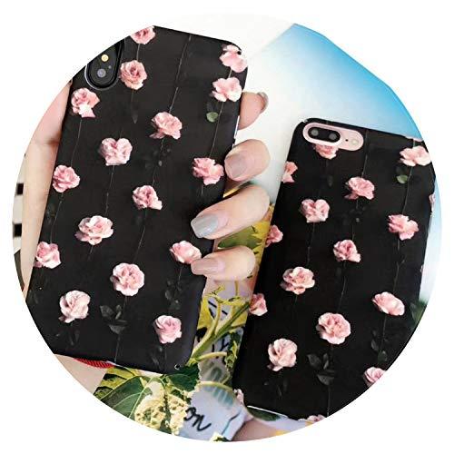 Retro Rose Flores teléfono caso para iPhone 6 6S 7 8 Plus X moda mate teléfono nuevo cuerpo completo cubierta casos, para iPhone 7