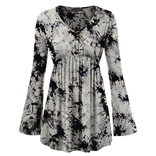 Hemd Damen Bluse Sexy Elegant V Ausschnitt Lose Langarm Applique Retro Flowy Tops Daily Basic T-Shirt Leichtes Atmungsaktives Sweatshirt Weihnacht Party Shirt L