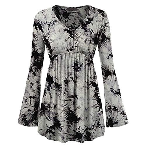 MENAB Damen Shirts Tunika Tops Button Lässig Langarm T-Shirts Langarm Halsknopf Blumendruck Swing Casual Top Casual V-Ausschnitt Plissee Tops Shirts Bluse Damen Langarm T-Shirt