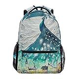 ALarge Sac à dos à dos aquarelle abstrait paon de voyage, école, université, livre, sac à bandoulière, camping, randonnée, ordinateur portable