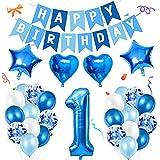 Amycute 1er Decoraciones de Cumpleaños Globos, Feliz Cumpleaños Globos 1 Años Azul, Globos Número 1 Digitales Gigante del Papel de Aluminio, Globos de Confeti de Latex para Fiestas Niños