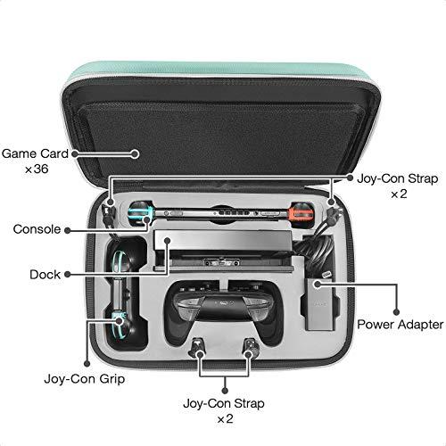 tomtoc Storage Case Tasche für Nintendo Switch, Hartschale Deluxe Hülle Tragetasche Aufbewahrungstasche Etui, kompatibel mit Switch Konsole, Dock, 36 Spielkarten, Pro Controller, Netzteil, Grün