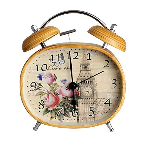 ZHZLX-alarm clock MéCanique RéVeil RéVeil Double Cloche RéVeil en MéTal Style RéTro Imitation Bois Grain Super Fort Maison DéCoration Table De Chevet Chambre Bureau Jaune 4,5 Pouces