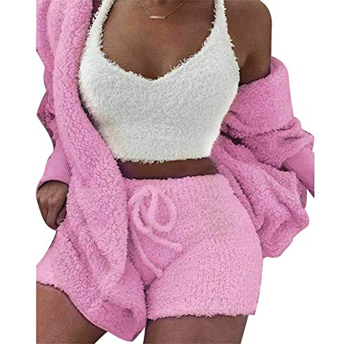 Zeaih Fluffy Hooded Lange mouwen Jas, Open Front Teddy Shorts Vest Set, Fluffy Hoodie Sweatshirt Warm Pullover voor Vrouwen