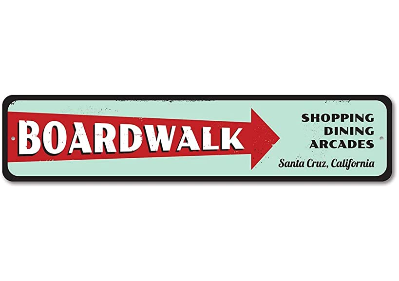 Boardwalk Sign, Personalized Beach Location Sign, Shopping Dining Arcades Arrow Sign, Custom Beach House Decor - Quality Aluminum ENSA1001209-9 x36 Quality Aluminum Sign