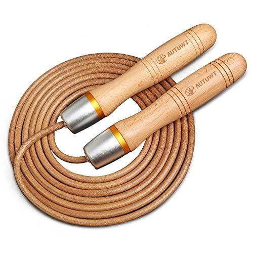 AUTUWT Leder-Springseil, verstellbar, 360 ° Kugellager und Griffe aus reinem Holz, Springseil für Fitnessstudio und Zuhause, Boxen, Gewichtsverlust und Cardio