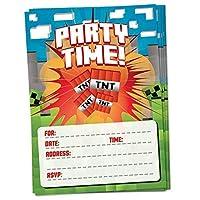 マイナーテーマパーティー時間誕生日招待状 – 15パック – ピクセルマイニングゲームゲーマーテーマの封筒付き