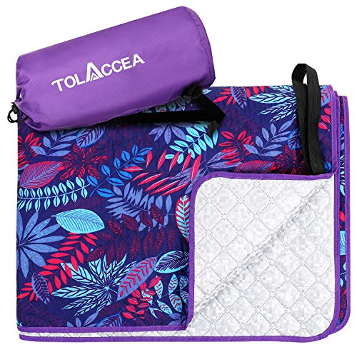 Tolaccea Outdoor Blanket Waterproof Picnic Blanket 100% Waterproof and Sandproof Portable Large Three-Layer Purple Cooling Mat for Indoor Courtyard Lawn Beach Camping Family Outdoor Gathering