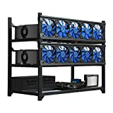 Kingwin Bitcoin Miner Rig Case W/ 6, 8, or 12 GPU Mining Stackable Frame - Expert Crypto Mining Rack W/Placement for Motherboard for Mining - Air Convection to Improve GPU Cryptocurrency (12GPU)