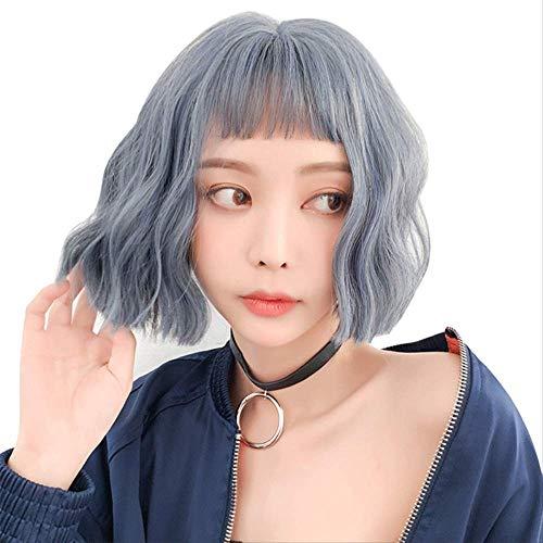 Fashion Trend Perruque courte pour femme Bleu clair Petite vague