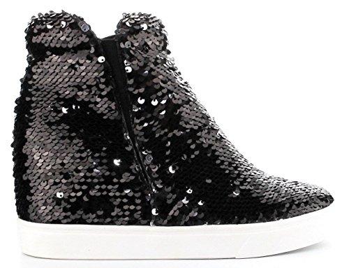 Cr Uneek-1 Hidden Wedge Women Fashion High Top Sequin Sparkle Sneaker Shoe Black,Black,10