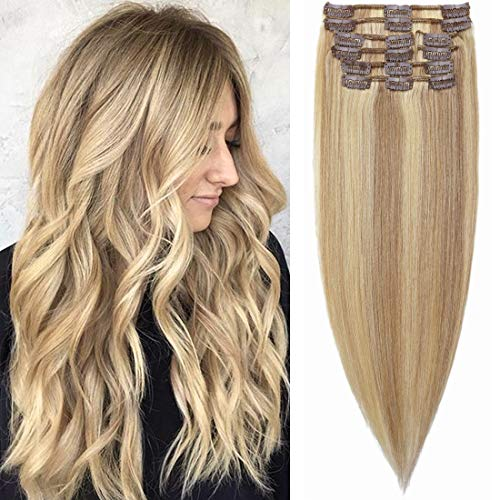 "S-noilite Clip in Hair Extensions Human Hair Balayage Clip in 100% Human Hair for Women Thin Hair Light Weight Natural End Standard Weft 8 Pcs/18 Clip/Set 18""- (#18/613 Ash Blonde/Bleach Blonde)"