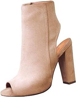 6dc27999 Yudesun Zapatos para Mujer Botas - Tacón Alto Punta Abierta Botines  Cremallera Lateral Peep Toe Espalda