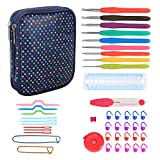 Teamoy Crochet Hooks Set - 9 Pieces Ergonomic Crochet Hooks with Case and Crochet Accessories, Perfect for Arthritic Hands, Colorful Dots