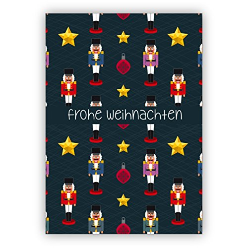 Nußknacker und Sterne Weihnachtskarte mit Weihnachtsschmuck: Frohe Weihnachten • als festliche Weihnachts Klappkarte zum Jahres-Ende für Familie und Firma