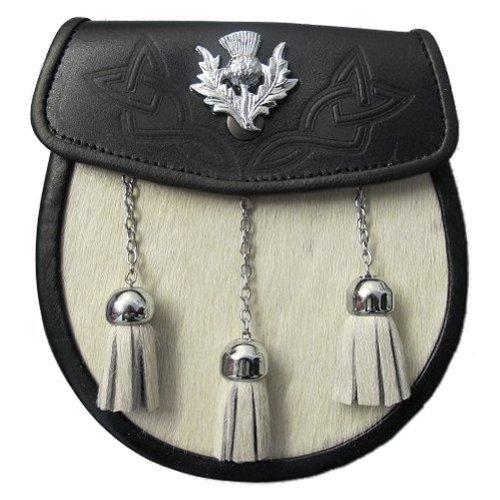 Tartanista - Herren Semi-Dress-Sporran für Kilts - Weißes Fell & keltische Distel